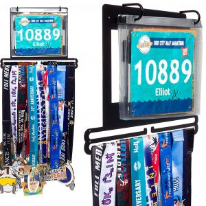 medal hanger with racing bibs